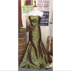 Vintage tiny green iridescent evening gown